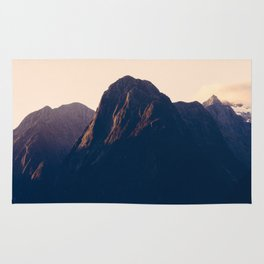 Sunset over Milford Sound in New Zealand Rug