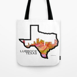 Texas State Map with Lubbock Skyline Tote Bag