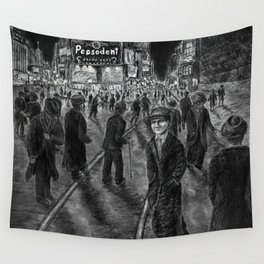Untitled - charcoal drawing - new york, cityscape, 1930s Wall Tapestry
