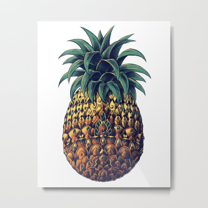 Ornate Pineapple (Colored) Metal Print