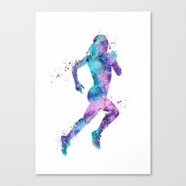 Girl Running Art Colorful Purple Pink Turquoise Watercolor Sports Art Canvas Print