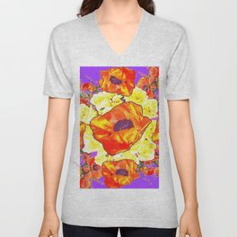 ABSTRACTED ORANGE POPPIES FLORAL LILAC YELLOW Unisex V-Neck