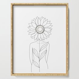 Minimalistic Line Art of Woman with Sunflower Serving Tray