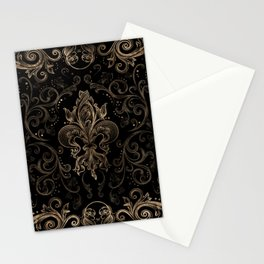 Fleur-de-lis ornament Black and Gold Stationery Cards