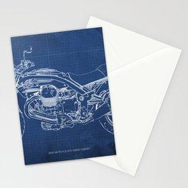 2010 Moto Guzzi Griso1200 8V, motorcycle blueprint, blue poster,milimiter,original poster,giftforhim Stationery Cards