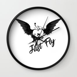 Just Fly Heart Wings Wall Clock