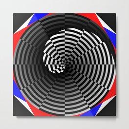 Digital Checker Yin Yang Metal Print