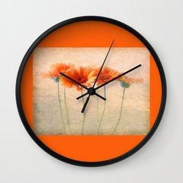 Orange Gerberas Wall Clock