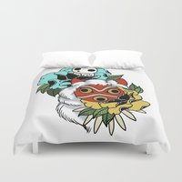princess mononoke Duvet Covers featuring Princess Mononoke Mask by Carrie South