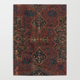 Boho Chic Dark VI // 17th Century Colorful Medallion Red Blue Green Brown Ornate Accent Rug Pattern Poster
