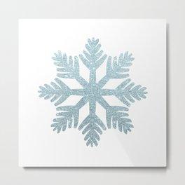 Blue Glitter Snowflake Metal Print