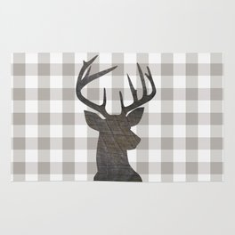 Rustic Farmhouse Decor, Stag Deer, Gingham Pattern, Grey and White Rug