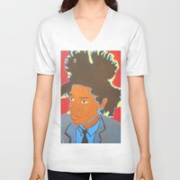 basquiat V-neck T-shirts featuring Basquiat by Justice Dwight