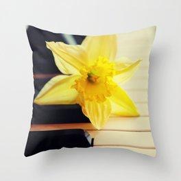 piano flower Throw Pillow