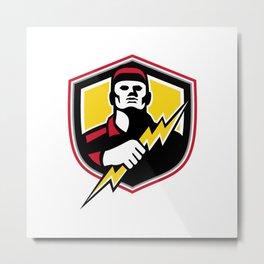 Electrician Thunderbolt Crest Mascot Metal Print