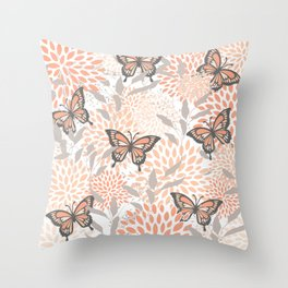 Floral and Butterflies Print, Gray, Coral, Peach Throw Pillow