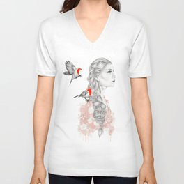 Girl with red robins Unisex V-Neck