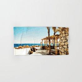 Watercolor Painting of Mykonos Beach Hand & Bath Towel