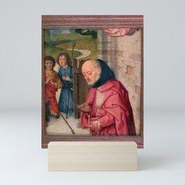 Dieric Bouts - Nativity fragment with Joseph & two shepherds Mini Art Print