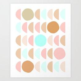 Mid Century Modern Geometric Moon and Sun pattern Art Print