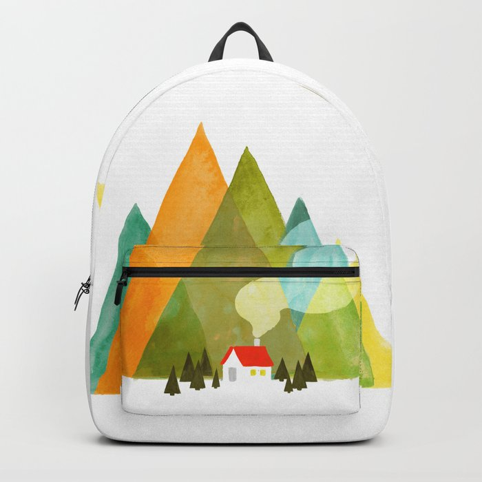 House at the foot of the mountains Backpack