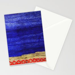 V24 New Blue Calm Traditional Moroccan Carpet Texture. Stationery Cards