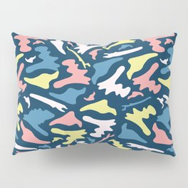 Memphis Style Camouflage Shapes Seamless Vector Pattern, Drawn Pillow Sham