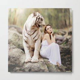 White Tiger from Bengal | Tigre blanc du Bengale Metal Print