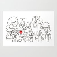 robots, mech, line, black and white, drawing, machines Art Print