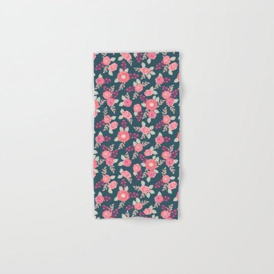 Ranunculus gardener garden floral flowers boho navy pink pastel cute pattern dorm college trendy Hand & Bath Towel