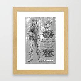 Marine with Hymn Framed Art Print