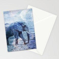The Elephants Journey blue moon Stationery Cards