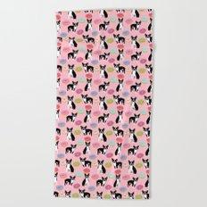 Boston Terrier Donuts cute pink dog art pet portrait junk food doughnut sweet treat funny animal pet Beach Towel