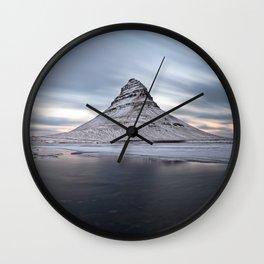KIRKJUFELL MOUNTAIN WINTER SUNSET ICELAND LANDSCAPE Wall Clock