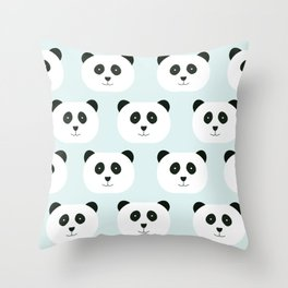 Panda Love- Mint Blue Throw Pillow