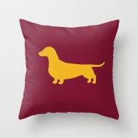 daschund Throw Pillows featuring Daschund (Burgundy/Gold) by Erin Rea