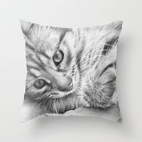 kitten Throw Pillows featuring Kitten by Olechka