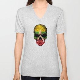 Dark Skull with Flag of Myanmar Unisex V-Neck