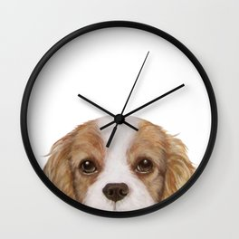 Cavalier King Charles Spaniel Dog illustration original painting print Wall Clock