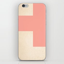 Simply Geometric White Gold Sands on Salmon Pink iPhone Skin