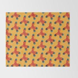 Orange Methane Molecule Throw Blanket