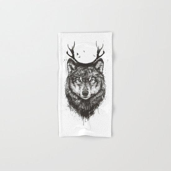 Deer wolf (b&w) Hand & Bath Towel