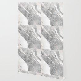 Marble - Silver Glitter on White Metallic Marble Pattern Wallpaper