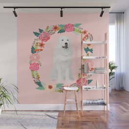 great pyrenees dog floral wreath dog gifts pet portraits Wall Mural