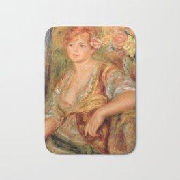 """Auguste Renoir """"Blonde à la rose"""" Bath Mat"""