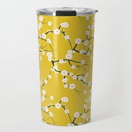 Cream Cherry Blossom Branches on Gold Travel Mug