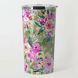 LUSH LIFE Colorful Tropical Watercolor Floral Travel Mug