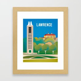 Lawrence, Kansas - Skyline Illustration by Loose Petals Framed Art Print