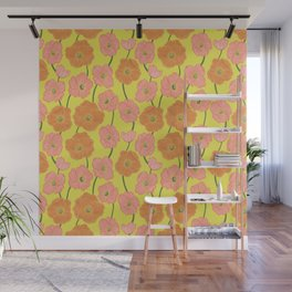 Icelandic Poppies Springtime Floral on Yellow Wall Mural