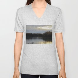 Downeast Autumn Reflections of Scattered Illuminations Unisex V-Neck